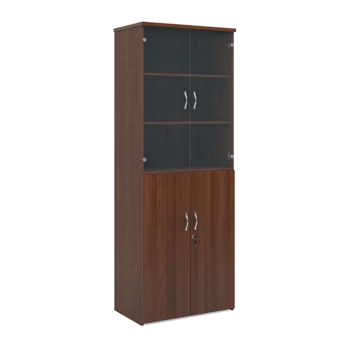 Universal combination unit with glass upper doors 2140mm high with 5 shelves - walnut