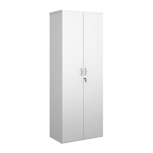 Duo double door cupboard 2140mm high with 5 shelves - white
