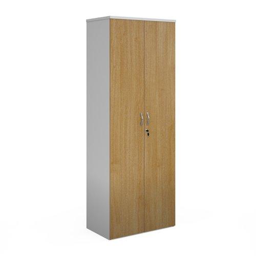 Duo double door cupboard 2140mm high with 5 shelves - white with oak doors