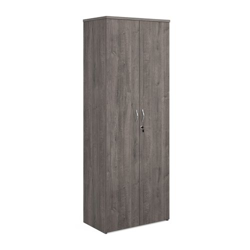 Universal double door cupboard 2140mm high with 5 shelves - grey oak