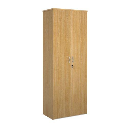 Universal double door cupboard 2140mm high with 5 shelves - oak