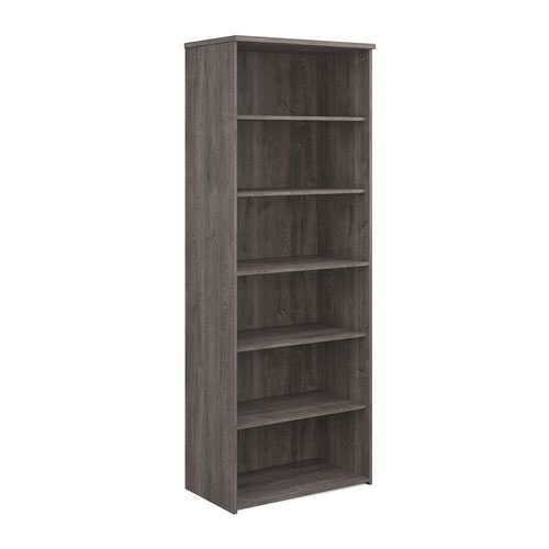 Universal bookcase 2140mm high with 5 shelves - grey oak