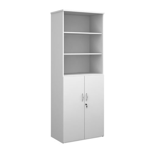 Duo combination unit with open top 2140mm high with 5 shelves - white
