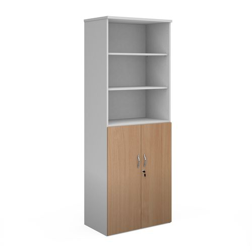 Duo combination unit with open top 2140mm high with 5 shelves - white with beech lower doors