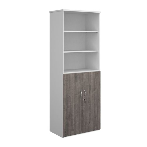 Duo combination unit with open top 2140mm high with 5 shelves - white with grey oak lower doors