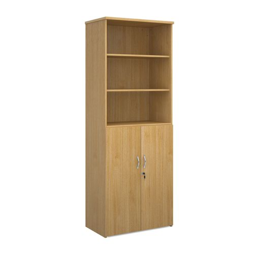 Universal combination unit with open top 2140mm high with 5 shelves - oak