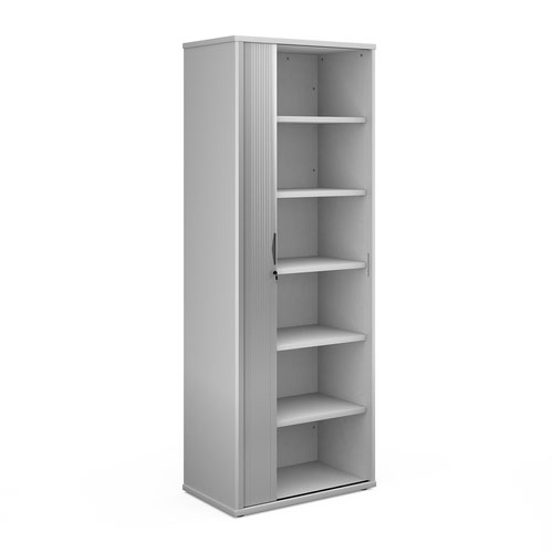 Universal single door tambour cupboard 2140mm high with 5 shelves - white with silver door