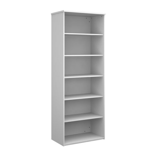 Universal bookcase 2140mm high with 5 shelves - white