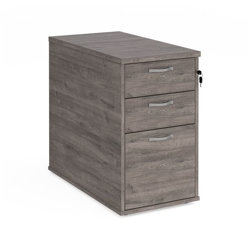 Desk high 3 drawer pedestal with silver handles 800mm deep - grey oak