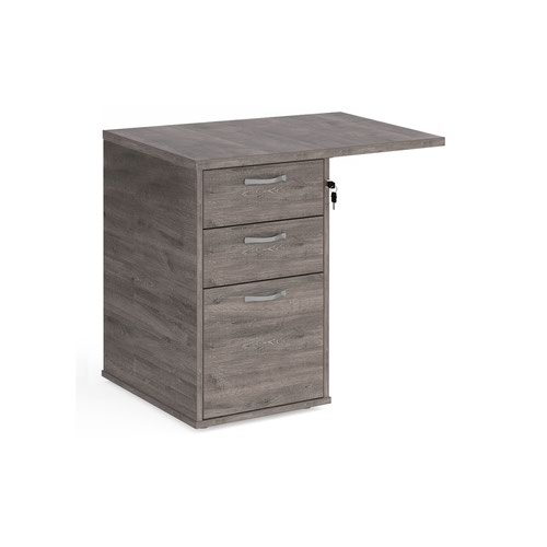 Desk high 3 drawer pedestal 600mm deep with 800mm flyover top - grey oak