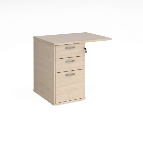 Desk high 3 drawer pedestal 600mm deep with 800mm flyover top - maple