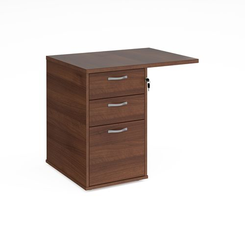 Desk high 3 drawer pedestal 600mm deep with 800mm flyover top - walnut