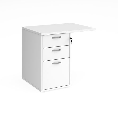 Desk high 3 drawer pedestal 600mm deep with 800mm flyover top - white