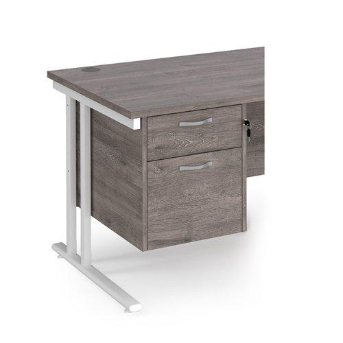 Maestro 25 2 drawer fixed pedestal - grey oak