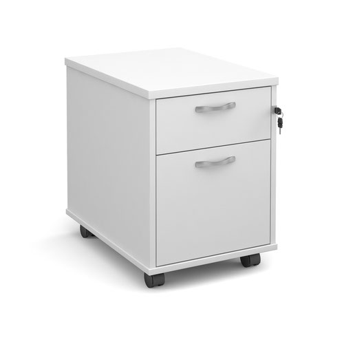 Deluxe Mobile Pedestal 2 Drawer 426x600mm White Finish R2MWH