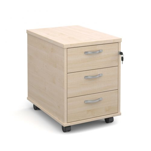 Mobile 3 drawer pedestal with silver handles 600mm deep - maple