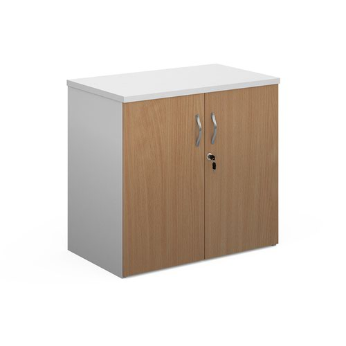 Duo double door cupboard 740mm high with 1 shelf - white with beech doors