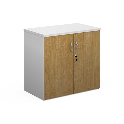 Duo double door cupboard 740mm high with 1 shelf - white with oak doors