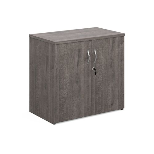 Universal double door cupboard 740mm high with 1 shelf - grey oak