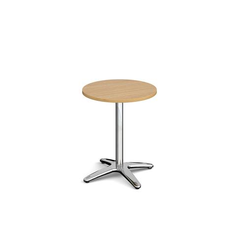 Roma circular dining table with 4 leg chrome base 600mm - oak