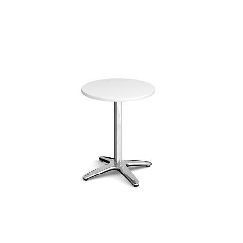 Roma circular dining table with 4 leg chrome base 600mm - white