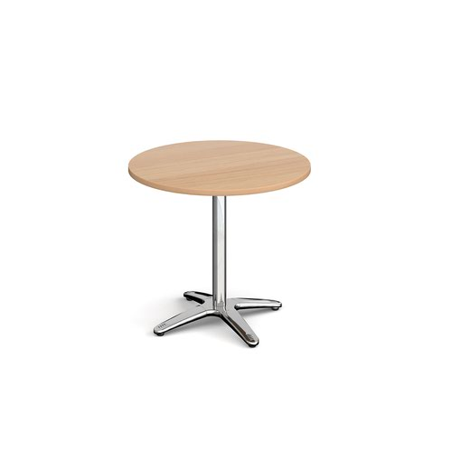 Roma circular dining table with 4 leg chrome base 800mm - beech