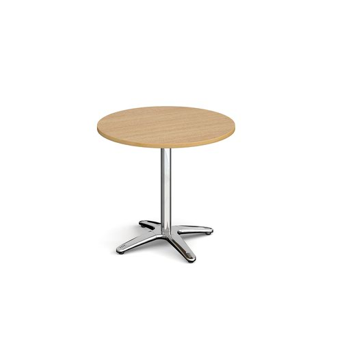 Roma circular dining table with 4 leg chrome base 800mm - oak