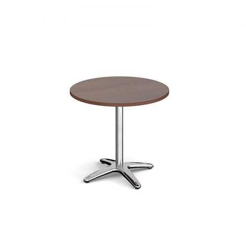 Roma circular dining table with 4 leg chrome base 800mm - walnut