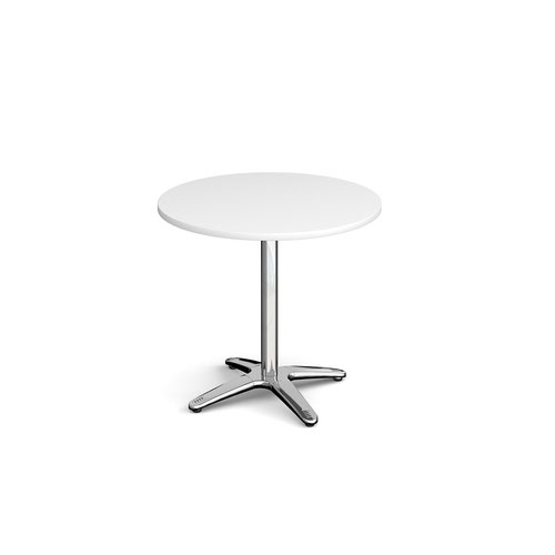 Roma circular dining table with 4 leg chrome base 800mm - white