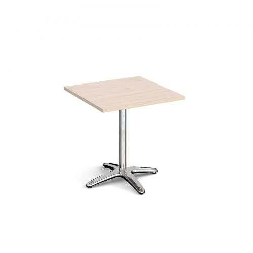 Roma square dining table with 4 leg chrome base 700mm - maple