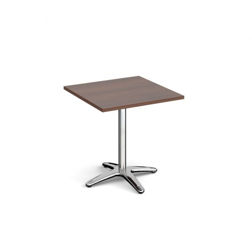 Roma square dining table with 4 leg chrome base 700mm - walnut