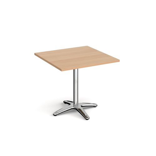 Roma square dining table with 4 leg chrome base 800mm - beech