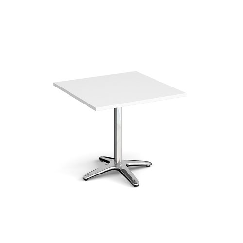 Roma square dining table with 4 leg chrome base 800mm - white