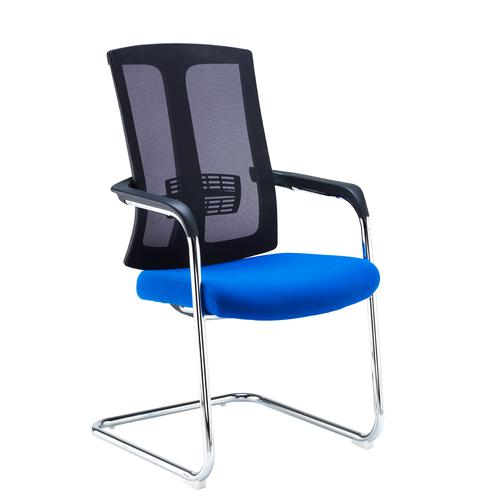 Ronan chrome cantilever frame conference chair with mesh back - blue