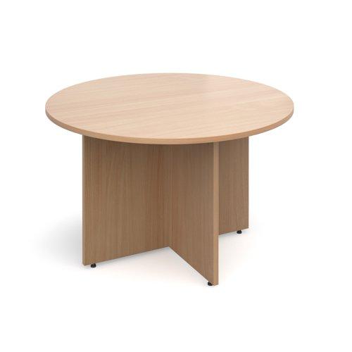 Arrow head leg circular meeting table 1200mm - beech