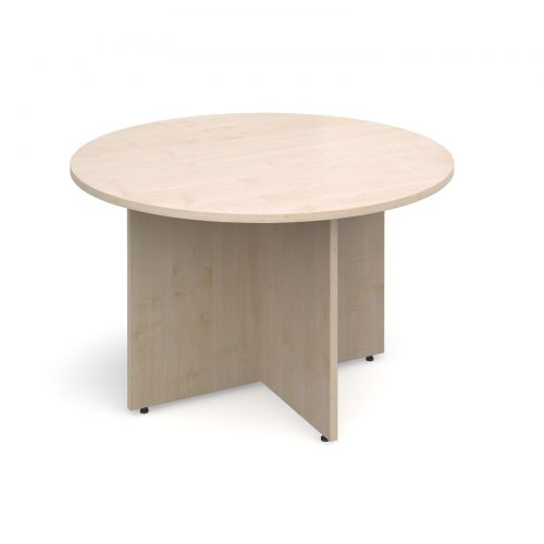 Arrow head leg circular meeting table 1200mm - maple
