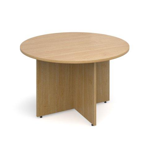 Arrow head leg circular meeting table 1200mm - oak