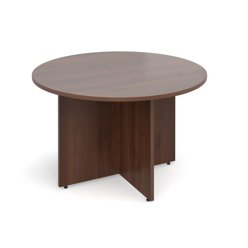Arrow head leg circular meeting table 1200mm - walnut