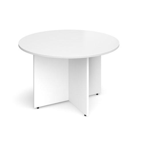 Arrow head leg circular meeting table 1200mm - white