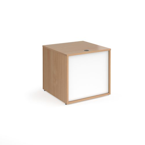 Denver reception straight base unit 800mm - beech with white panels