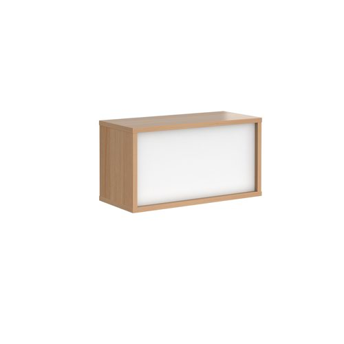 Denver reception straight top unit 800mm - beech with white panels