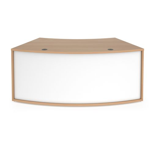 Denver reception 45° curved base unit 1800mm - beech with white panels