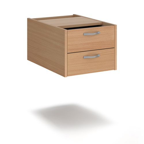 Maestro 25 shallow 2 drawer fixed pedestal for 600mm deep desks - beech