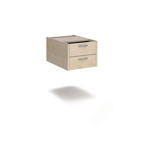 Maestro 25 shallow 2 drawer fixed pedestal for 600mm deep desks - maple