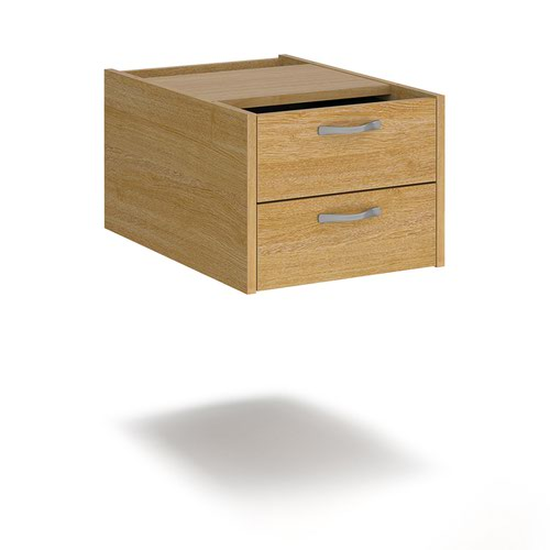 Maestro 25 shallow 2 drawer fixed pedestal for 600mm deep desks - oak