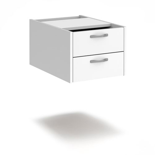 Maestro 25 shallow 2 drawer fixed pedestal for 600mm deep desks - white
