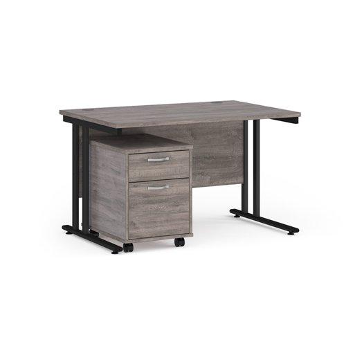 Maestro 25 straight desk 1200mm x 800mm with black cantilever frame and 2 drawer pedestal - grey oak