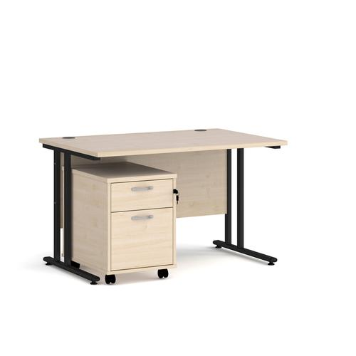 Maestro 25 straight desk 1200mm x 800mm with black cantilever frame and 2 drawer pedestal - maple