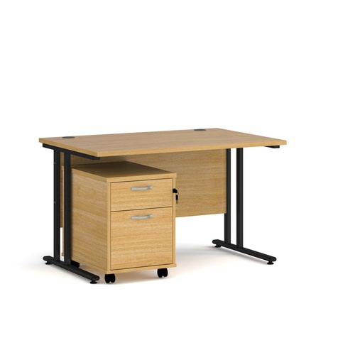 Maestro 25 straight desk 1200mm x 800mm with black cantilever frame and 2 drawer pedestal - oak
