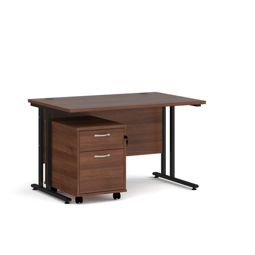 Maestro 25 straight desk 1200mm x 800mm with black cantilever frame and 2 drawer pedestal - walnut